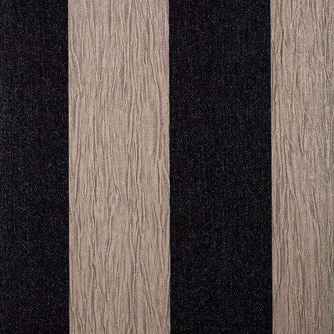 Debona Glitter Encrusted Vinyl Wallpaper Stripe in Black & Taupe 9010