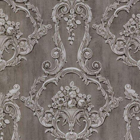 Debona Grosvenor Anthracite Wallpaper 6215 - Traditional Floral Rose Cameo Damask