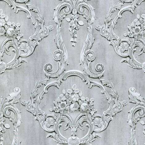 Debona Grosvenor Grey Wallpaper 6217 - Traditional Floral Rose Cameo Damask