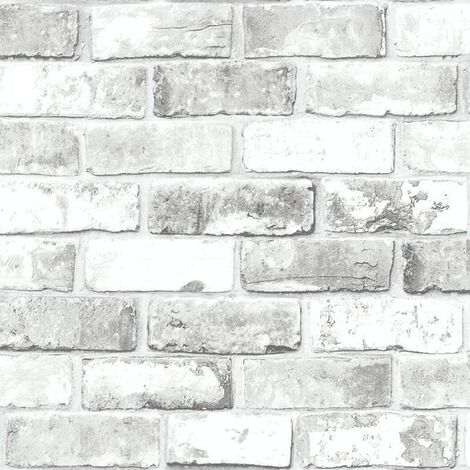 Debona Impressions White Brick effect Wallpaper Stone Wall Rustic Weathered