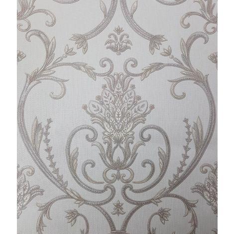 Debona Isabella Damask Ivory Wallpaper Floral Glitter Textured Italian Vinyl