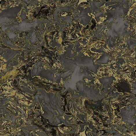 Debona Liquid Marble Metallic Glitter Shimmer Wallpaper - Black Gold