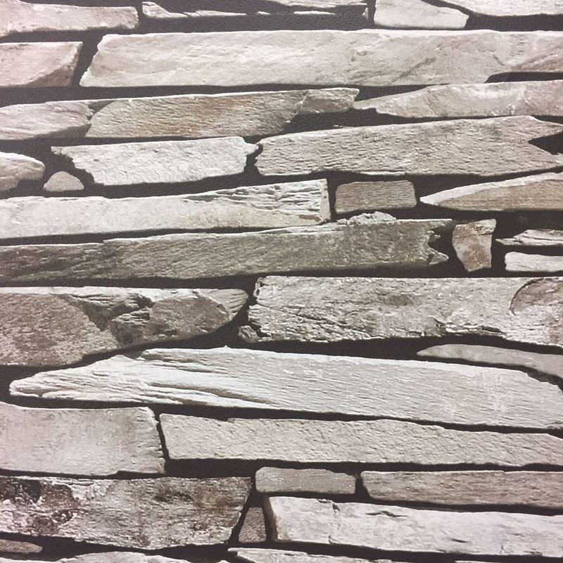 Image of Brick Stone Tile Slate Wallpaper Grey Natural Realistic Faux Photo Debona