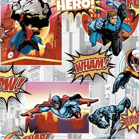 Debona Superhero Multi Wallpaper 6337 - Kids Childrens Boys Bedroom City Wham!