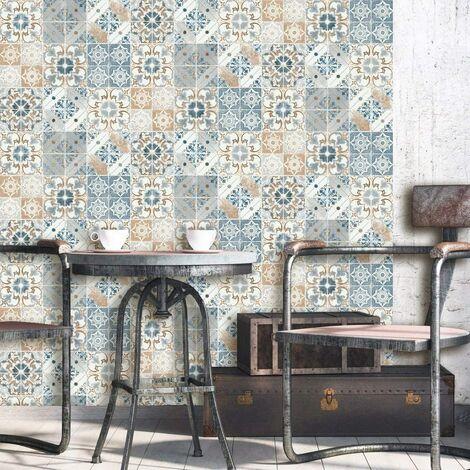 Debona Washable Wallpaper Valencia Terracotta & Blue 5011 Full Roll