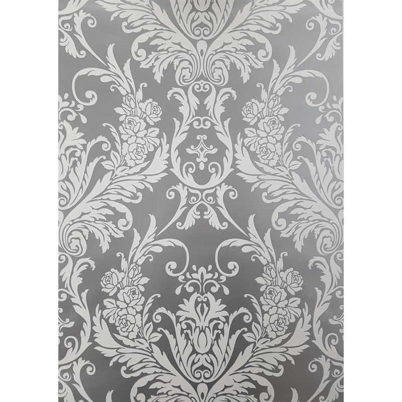 Debona Medina Flock Silver White Damask Wallpaper Wl 4001