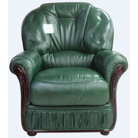 Debora Genuine Italian Sofa Armchair Green Leather
