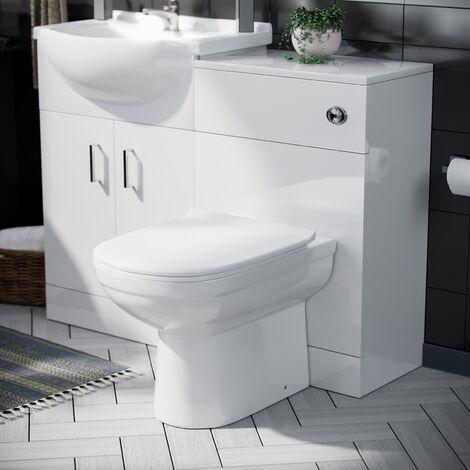Debra Cloakroom Basin 1050 mm Vanity Sink Unit & Back To Wall Toilet WC