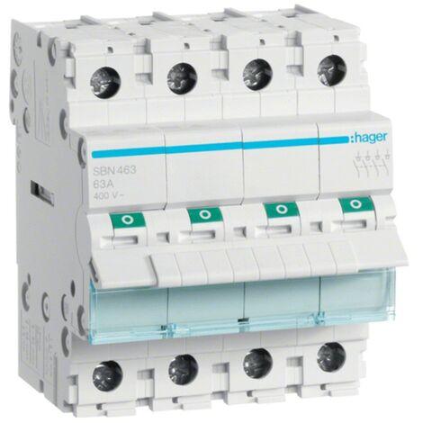 Débranchez Hager4 pôles 63A 4 modules SBN463