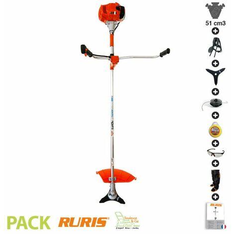 Débroussailleuse thermique 52 cm3 couteau 3 dents harnais Ruris 520C - Orange