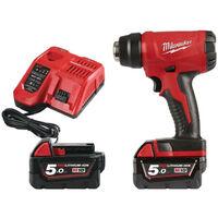 Décapeur thermique M18 Milwaukee 18V 2 batteries 5.0Ah - 1 chargeur 80 min BHG-502C 4933459772