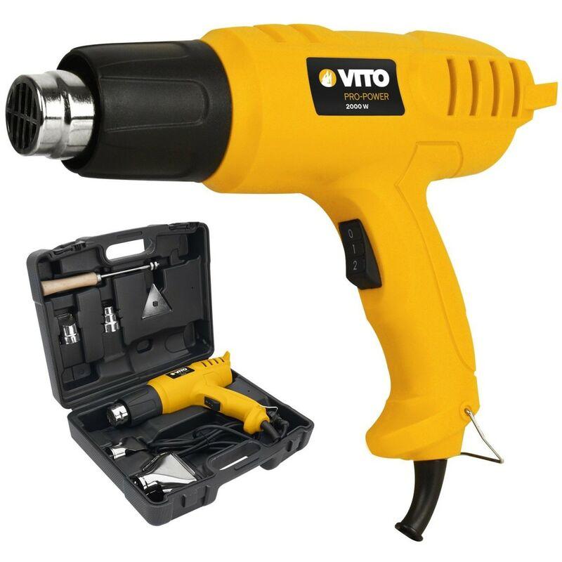 Décapeur thermique VITO 2000W Pistolet thermique mallette 5 accessoires - 2 temperatures de débit d'air