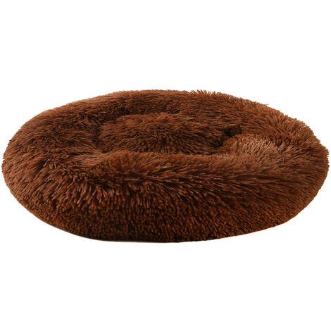 decdeal suave felpa Cama redonda animal domestico del gato del gato suave cama Cama para gatos perros, gris claro, 100cm de diametro