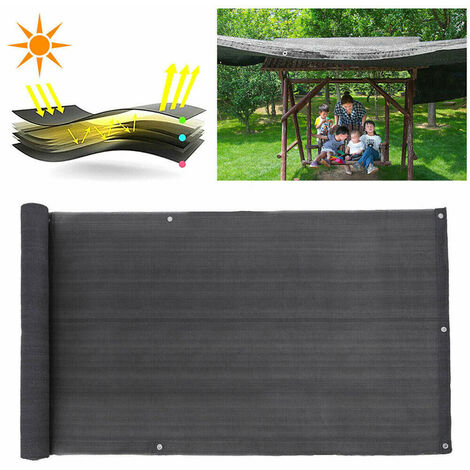 Deck Balcony Privacy Screen HDPE Screening Fence Garden Sunshade Wall Panel black 90X600CM