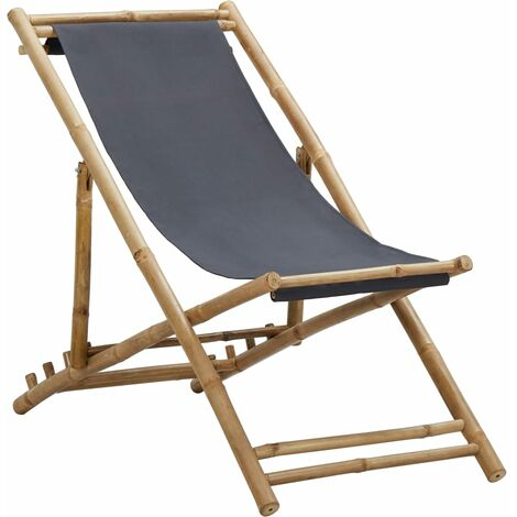 Deck Chair Bamboo and Canvas Dark Grey