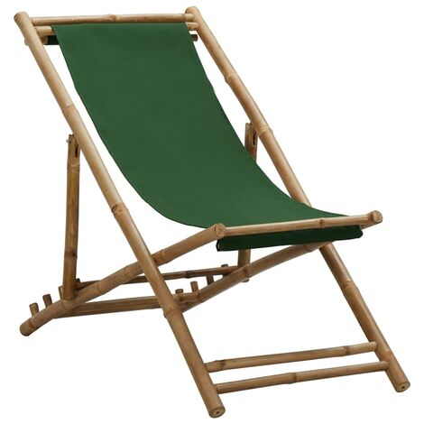 Deck Chair Bamboo and Canvas Green