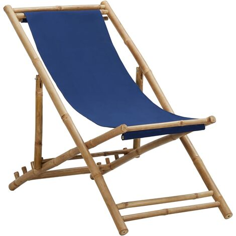 Deck Chair Bamboo and Canvas Navy Blue