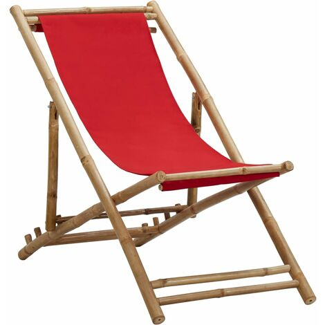 Deck Chair Bamboo and Canvas Red