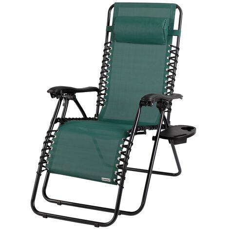 Deck Chair Outdoor Garden Patio Folding Sun Lounger Recliner Camping Beach BBQ