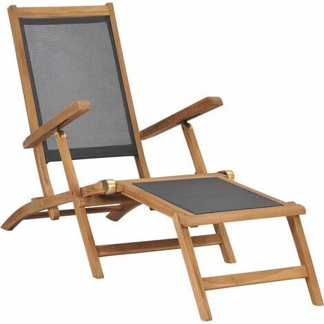 Deck Chair with Footrest Solid Teak Wood Black - Black