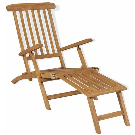 Deck Chair with Footrest Solid Teak Wood - Brown