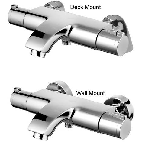 Deck Or Wall Mounted Eco Active Thermostatic Chrome Bathroom Bath Mixer Taps