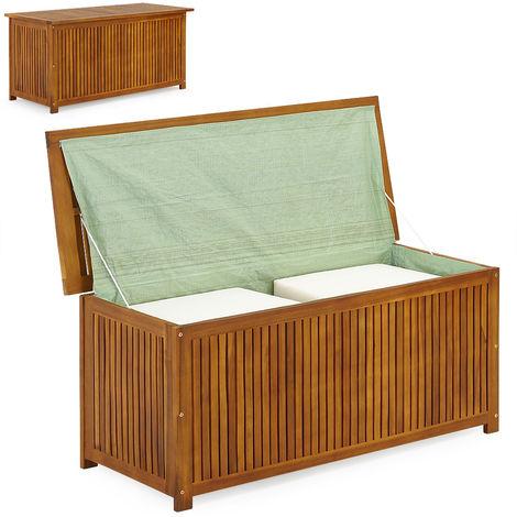 Deck Storage Box 117 cm Acacia Wood Inner Coating
