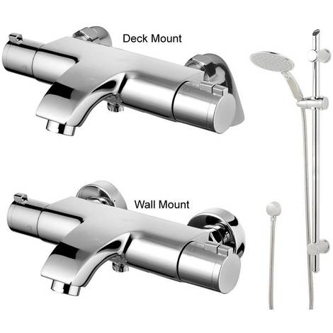 Deck/Wall Mounted Thermostatic Chrome Bathroom Bath Shower Mixer Tap Eco+jty004