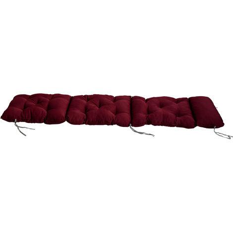 Deckchair Auflage Sitzkissen für Liege Auflage Polsterkissen Polsterauflage mit Bänder 195 x 49 cm bordeaux rot