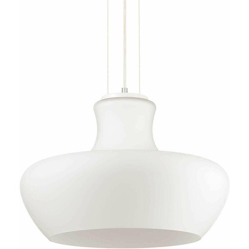 01-ideal Lux - ALADINO White Pendelleuchte 1 Glühlampe Durchmesser 32 cm