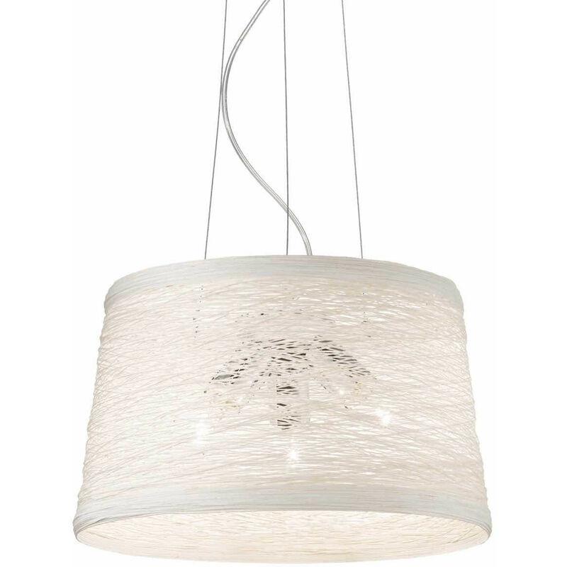 01-ideal Lux - Weiße BASKET Pendelleuchte 3 Glühbirnen