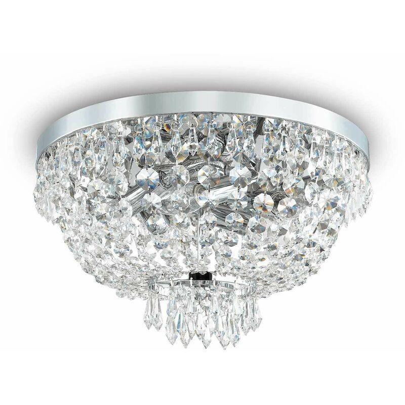 01-ideal Lux - Deckenleuchte Chrom Kristall CAESAR 5 Lichter