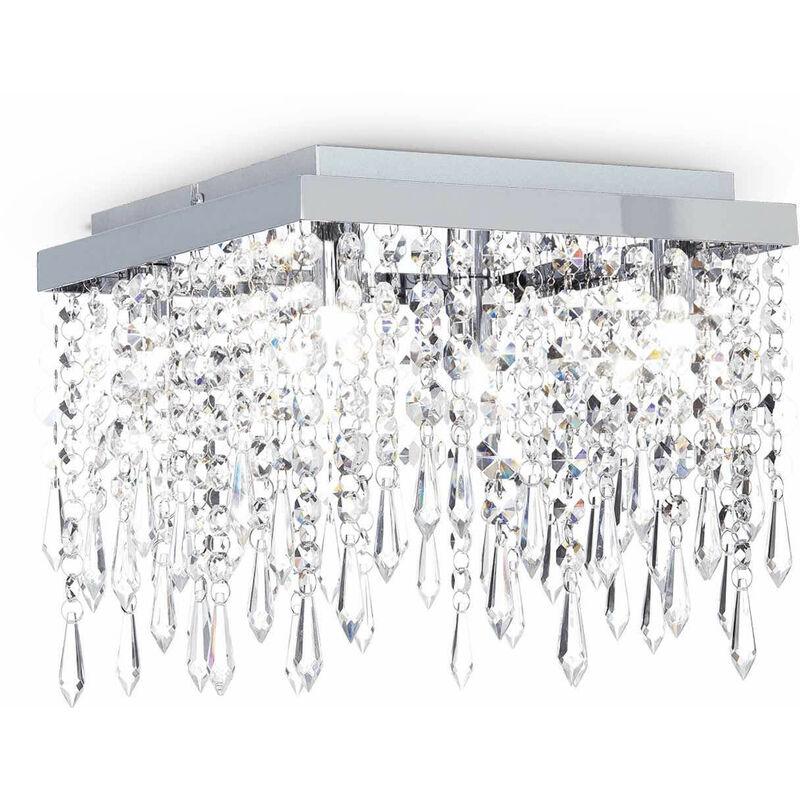 01-ideal Lux - Transparente Deckenleuchte aus Kristall GIADA CLEAR 4 Glühbirnen
