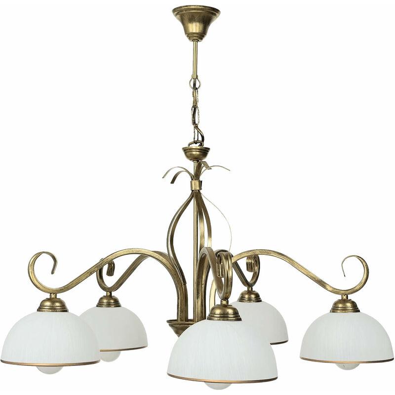 Licht-erlebnisse - Deckenleuchte Gold Antik Weiß Glas Schirm 5-flammig