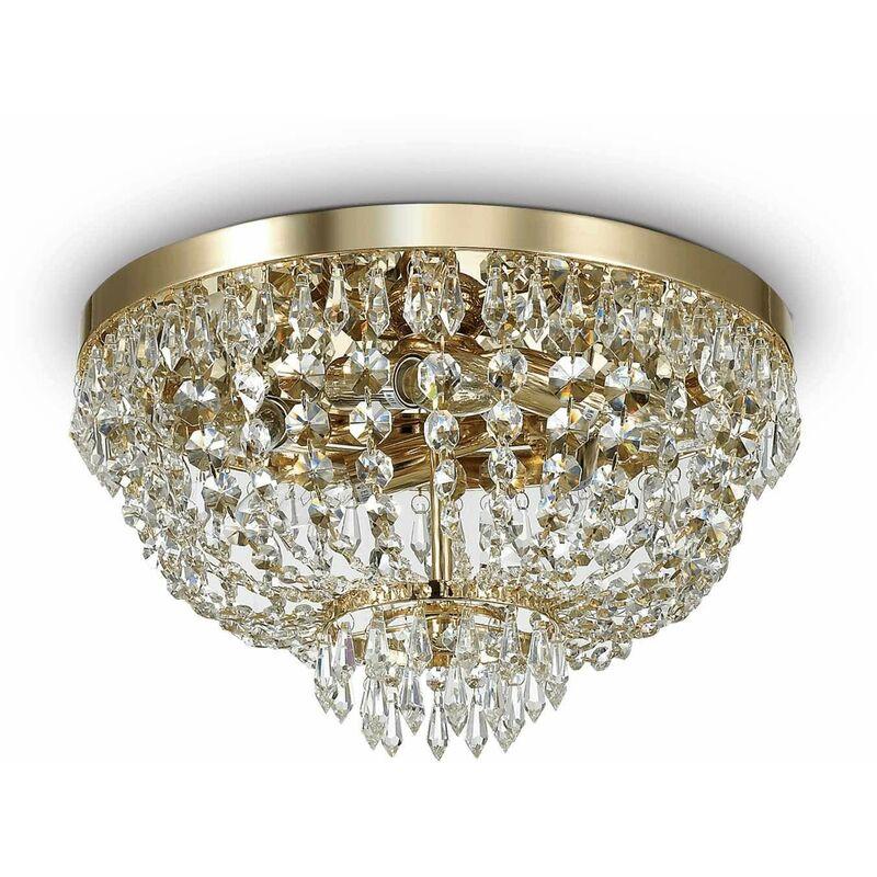 Deckenleuchte Golden in Kristall CAESAR 5 Glühbirnen - 01-IDEAL LUX