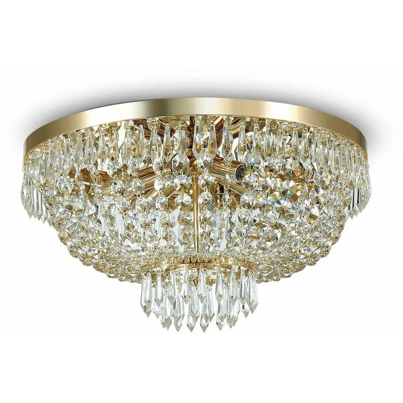 01-ideal Lux - Deckenleuchte Golden in Kristall CAESAR 6 Glühbirnen