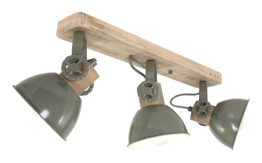 Deckenleuchte Holz Grün 3x E27 Strahler Mexlite 2133G - Steinhauer