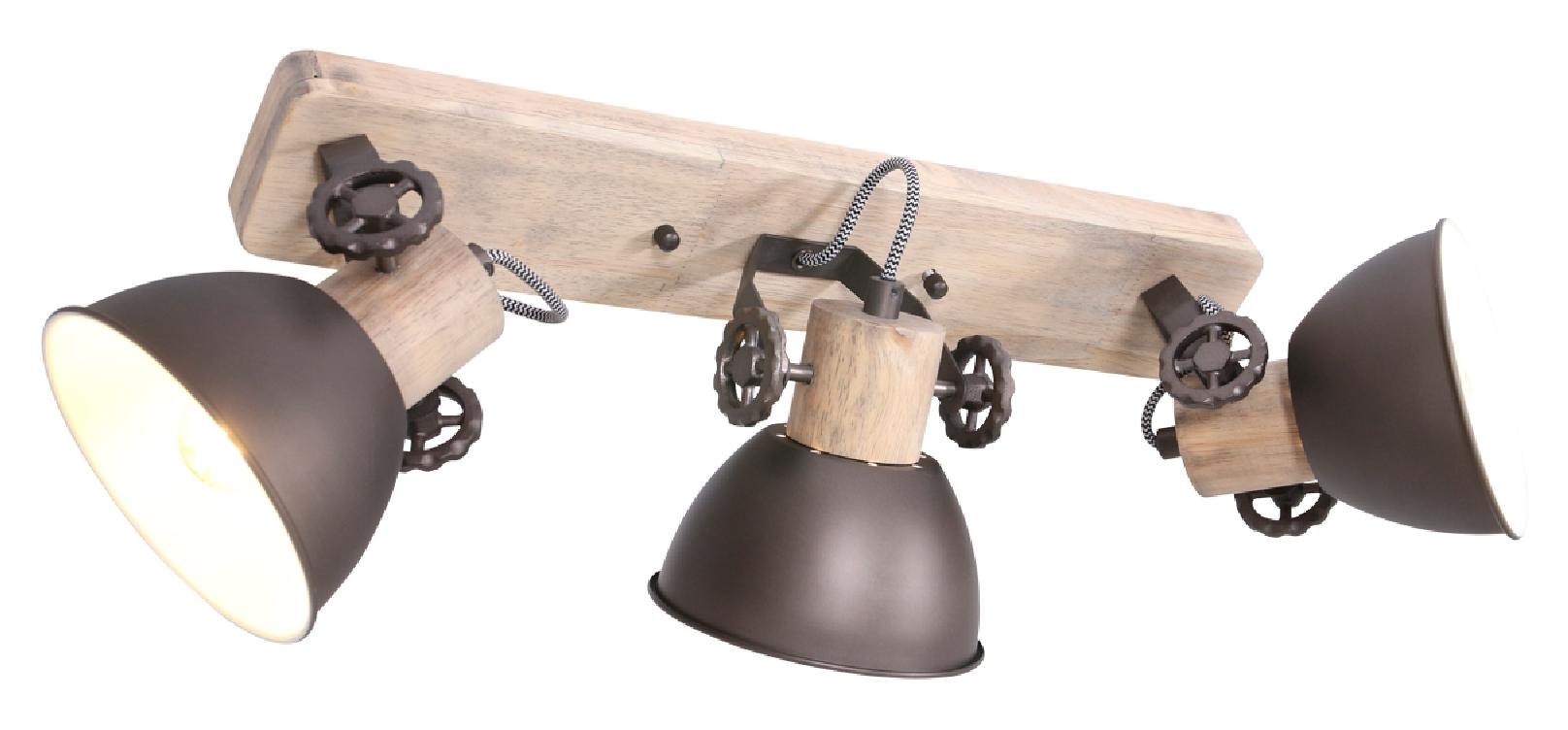 Deckenleuchte Holz Metall Anthrazit 3x E27 Strahler 2133A - Steinhauer