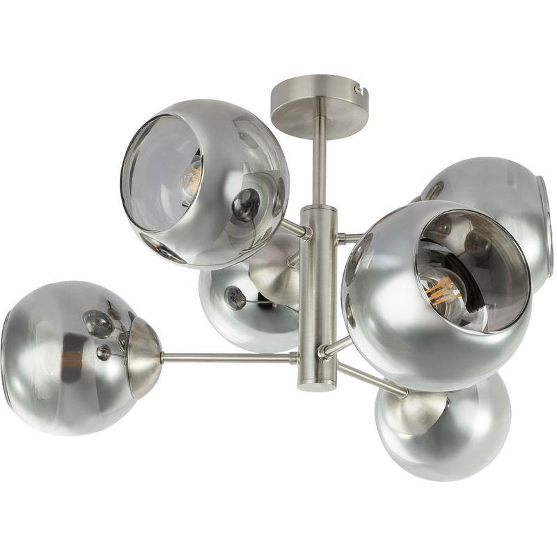 Globo - Design Decken Leuchte chrom Wohn Ess Zimmer Beleuchtung Glas Strahler Lampe rauch 15310-6D