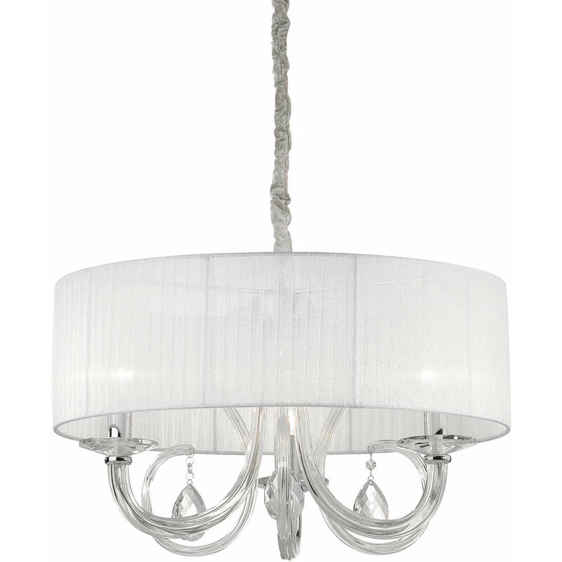 01-ideal Lux - SWAN weiße Pendelleuchte 3 Glühbirnen