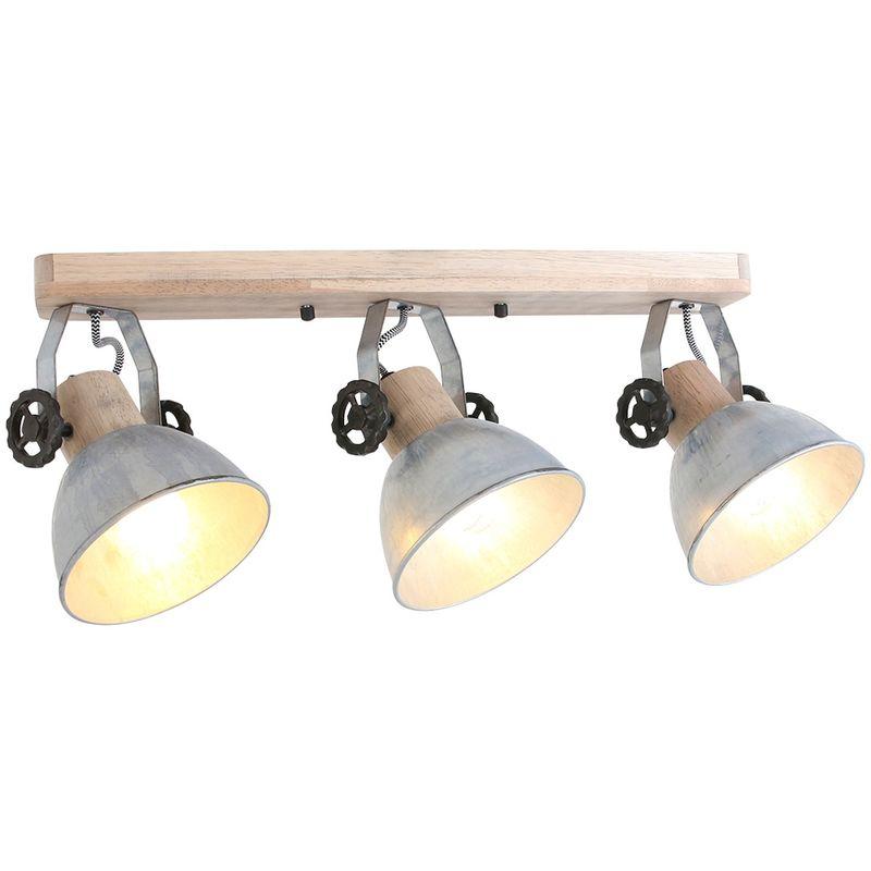 Deckenleuchte Holz Metall Silber 3x E27 Strahler Steinhauer 2133NI