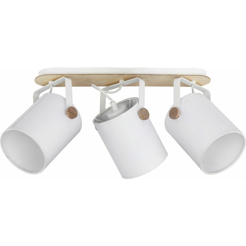 Deckenstrahler Weiß 3-flmg Stoffschirm - LICHT-ERLEBNISSE