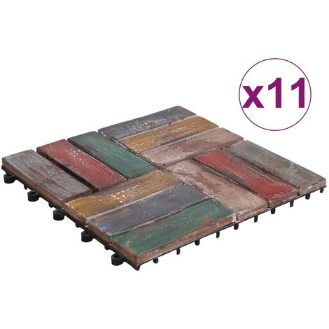 Decking Tiles 11 pcs 30x30 cm Solid Reclaimed Wood