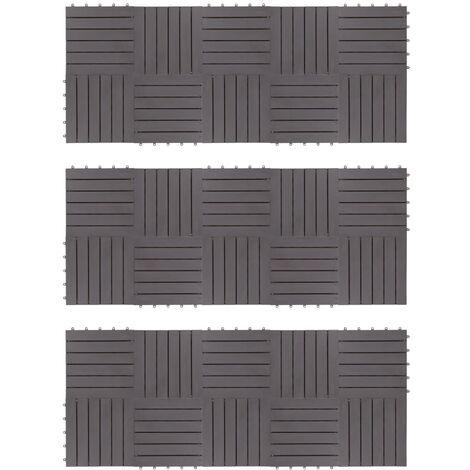 Decking Tiles 30 pcs Grey Wash 30x30 cm Solid Acacia Wood