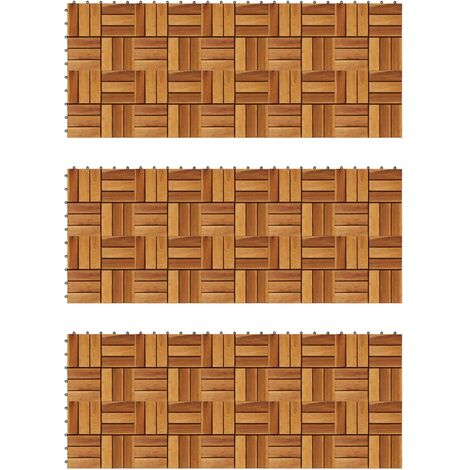 Decking Tiles 30 x 30 cm Acacia Set of 30