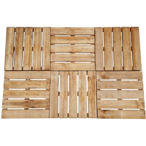 Decking Tiles 6 pcs 50x50 cm Wood Brown