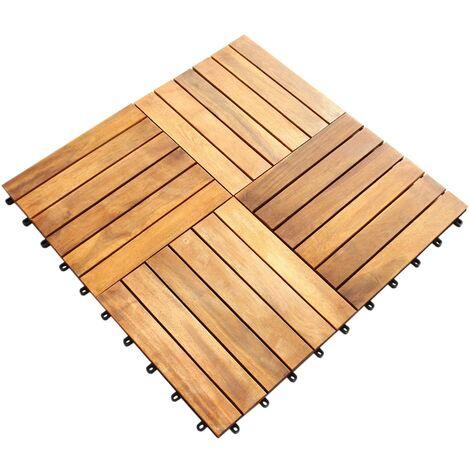 "main image of ""Decking Tiles Wooden Interlocking Boards Square Garden Patio Balcony Roof Terrace Hot Tub Flooring Acacia Wood Deck Tile Flooring"""