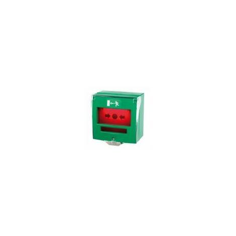 Déclencheur manuel vert 2 contacts avec capot + buzzer et LED / déverrouillage d'issue de secours - DMV2CBL.