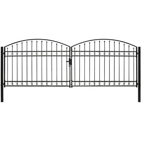 Declue Double Door Arched Top Fence 13' x 4' (4m x 1.25m) Metal Gate by Dakota Fields - Black