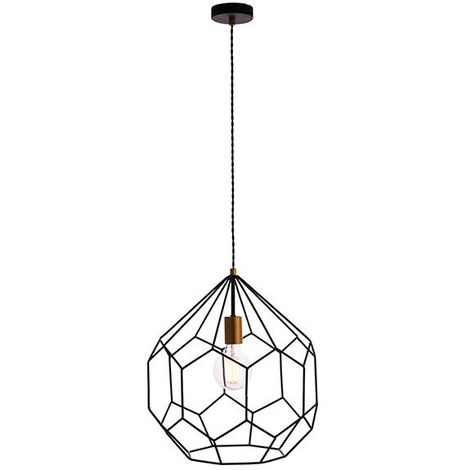 Deco Ceiling 1Lt Pendant 40W - Geometric Matt Black Shade